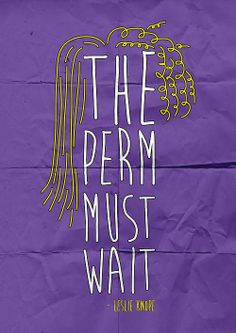 """""""The Perm Must Wait!"""" - Leslie Knope, Parks and Recreation"""