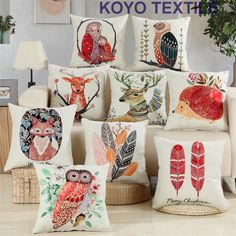 Vintage Watercolor Animal Animation Owl Deer Fox  Feather Retail  Printed Linen Sofa Car Cheap Cushion Cover Throw Pillow Case #Affiliate