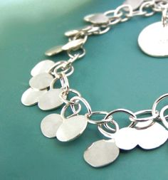 Hammered Dot Chain Bracelet  Sterling Silver by esdesigns on Etsy
