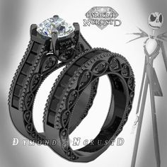Nightmare before Christmas wedding ring set $899 etsy.com