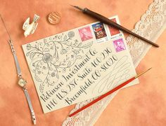 Rent Check Mail Art Envelopes: A Collection – The Postman's Knock Calligraphy Tutorial, Calligraphy Envelope, Hand Lettering Tutorial, Envelope Art, Calligraphy Ink, Modern Calligraphy, Free Monogram, Monogram Fonts, Monogram Letters