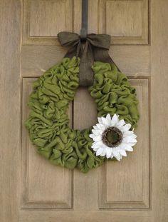 Avocado Green Burlap Wreath with White Burlap Sunflower--Summer Burlap Wreath--Spring Burlap Wreath--Burlap Wreath on Etsy, $60.00