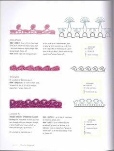 Crochet Edging Patterns, Crochet Borders, Crochet Diagram, Crochet Squares, Crochet Motif, Crochet Flowers, Crochet Cord, Crochet Diy, Thread Crochet