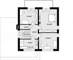 Rzut piętra projektu Nowik House Plans, Floor Plans, House Design, How To Plan, Home, Homes, Detached House, Blueprints For Homes, House Plans Design