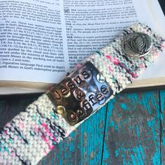 Jesus and Coffee Custom Stamped Cuff Bracelet, Christian Jewelry for Women, Inspirational Bracelet, Teacher Jewelry Gift #jesusandcoffee #christiangift Christian Bracelets, Christian Jewelry, Handmade Birthday Gifts, Knit Bracelet, Hand Stamped Jewelry, Coffee, Knits, Comfy Chair, Yarns