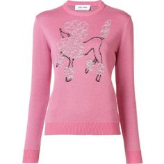 Jimi Roos poodle embroidered jumper ($440) ❤ liked on Polyvore featuring tops, sweaters, pink, embroidery top, pink top, embroidered top, pink jumper and pink sweater