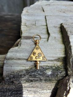 Unusual Gold Filled Key Fob Charm or Pendant with Skull, Gear, Greek Symbol, B and X in Corners, Possibly Masonic, Signed, Nice Condition by postGingerbread on Etsy