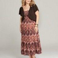Style&Co Plus Size Dress and Shrug, Sleeveless Printed Empire Maxi!