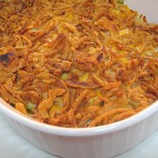 Classic green bean casserole with a twist ...a lil sour cream and cheddar cheese in the mix