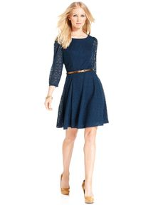London Times Dress, Three-Quarter-Sleeve Belted Pointelle A-Line - Womens Dresses - Macy's