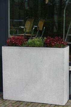 Pflanzkasten Dividier grau Tonfaser modern Stein Pflanzkübel Beton-Optik