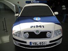 Crocheted police car at Kiasma contemporary art museum in Helsinki, Finland