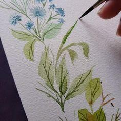 Watercolor Paintings For Beginners, Watercolor Art Lessons, Watercolor Techniques, Watercolor Flowers Tutorial, Floral Watercolor, Diy Canvas Art, Water Colors, Watercolor Illustration, Leaves