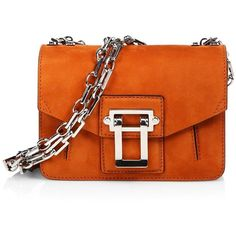 Proenza Schouler Hava Suede Chain Crossbody Bag ($790) ❤ liked on Polyvore featuring bags, handbags, shoulder bags, apparel & accessories, mahogany, crossbody shoulder bags, flap crossbody, chain strap shoulder bag, orange handbags and chain handle handbags