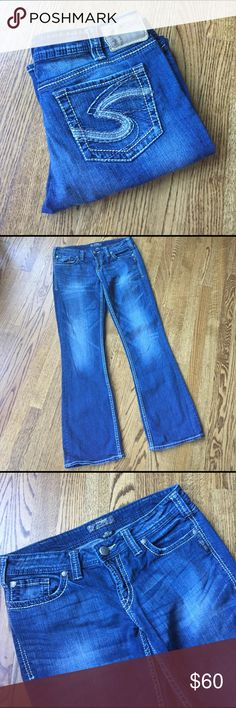 """Silver bootcut jeans 👖 Silver Aiko bootcut jeans. Waist flat 16"""", inseam 32"""". Fabric 99% cotton, 1% spandex. Minimal wear on cuffs. Front rise 8"""". Silver Jeans Jeans Boot Cut"""