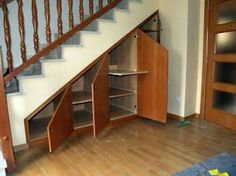 Staircase Storage, Stair Storage, Staircase Design, Stairs In Living Room, House Stairs, Cabinet Under Stairs, Cabin Interiors, Minimalist Home, Interior Design Living Room