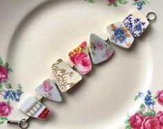 Broken china jewelry - broken china bracelet - made from antique broken china plates - ecofriendly jewelry, Dishfunctional Designs Broken China Crafts, Broken China Jewelry, Pink Jewelry, Glass Jewelry, Silver Jewelry, Bracelet Making, Jewelry Making, Bijoux Design, Vintage China