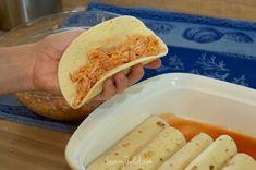 Chicken Enchiladas add chicken mixture to tortilla