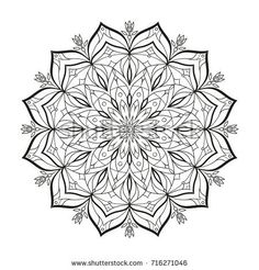 Flower monochrome vector mandala is isolated on a white background. Decorative element with east motives for design. Version of the page for coloring. Abstract geometrical element reminding snowflake