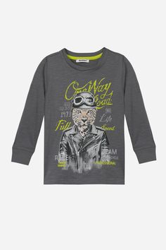 A long-sleeve boys t-shirt by with a cheetah in biker leather on the front. Rib neckline and cuffs. Biker Leather, Kids Fashion Boy, Vintage Racing, Boys T Shirts, Kids Boys, Cheetah, Printed Shirts, Graphic Sweatshirt, Sweatshirts