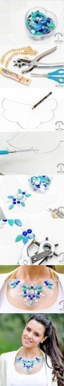 DIY Crimenes de la Moda - Transparent embellished necklace - Collar transparente con brillantes