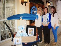 What a great entrance way to a Baby Shower. The bear wore a bib with the initial of the baby.
