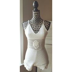 Ivory crochet boho romper Beautiful crochet romper perfect for vacations, beach cover ups, or just to wear out! Material is stretchy, lightly lined cups, straps are adjustable. Size large, mannequin is wearing a small. Color is ivory April Spirit  Dresses