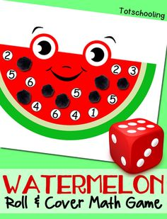 FREE printable Watermelon math game for kids to practice numbers and counting. Perfect summer learning activity or book activity to go along with The Watermelon Seed. - Kids education and learning acts Kindergarten Math Games, Math Games For Kids, Games For Toddlers, Kids Learning Activities, Preschool Lessons, Fun Math, Toddler Activities, Preschool Activities, Maths
