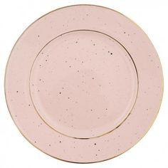 Piatto in ceramica rosa antico con decorazioni oro firmato Greengate. Ideale in abbinamento con dosatore e french bowl della stessa collezione.