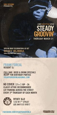 Steady Groovin' tonight at Monty! Frank Foreal brings his crew and their deep grooves to life at 10! No cover! #DTLA