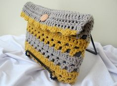 gold and grey crochet clutch