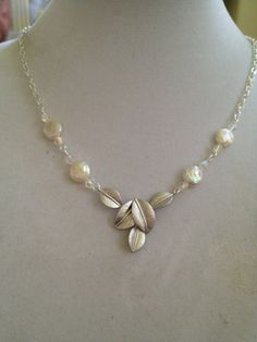 Bridal Pearl and Crystal Necklace by joytoyou41 on Etsy, $40.00