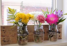 Easy DIY Mason Jar Projects for the Home - DIY Wall Organizer - DIY Projects & Crafts by DIY JOY at http://diyjoy.com/quick-diy-projects-fast-crafts-ideas