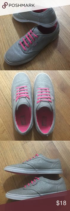 Vans silver and hot sneaker pink size 8 1/2 Only one pair of vans sneakers. Shoes are gray and silver reptile print with hot pink laces, hot pink vans logo, and hot pink soul. These shoes are size 8 1/2 lightly worn in great condition no rips or holes and upper shoe material. stain on inner left soul as seen in pictures. Vans Shoes Sneakers