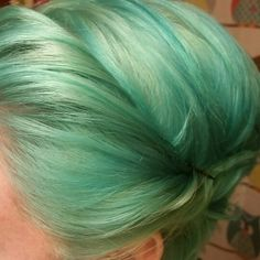 Mint green and blue.  Ion color from sallys.