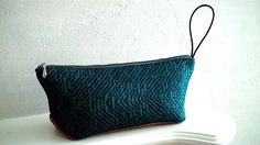 Travel Pouch in Ultramarine Recycled Fabric, Cowhide Leather, Fabric Material, Upcycle, Pouch, Teal, Throw Pillows, Purses, Repurposed