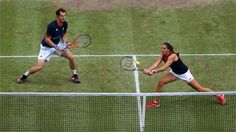 Laura Robson plays a backhand in the Mixed Doubles final  Laura Robson of Great Britain plays a backhand next to her partner Andy Murray during the Mixed Doubles Tennis final against Victoria Azarenka and Max Mirnyi of Belarus. The Belarus pair went on to win on Day 9 at Wimbledon