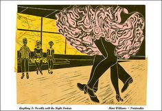 Dance Couple Poster Linocut Art