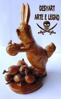 Coniglietto con mele in legno di ulivo Lavorato a mano