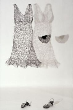 """Karen Searle: """"Essence Installation Detail, Jacket, Dress; Crocheted and hand-manipulated steel wire; life-sized."""""""