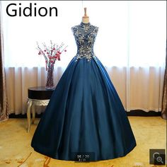 >> Click to Buy << Robe De Soiree dark navy blue satin ball gown prom dress high neck sleeveless sheer back cheap prom dresses real picture dress #Affiliate