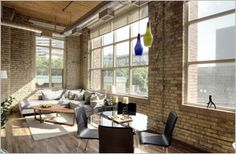#Tannery #Lofts #Toronto Warehouse Loft, Exposed Brick Walls, Wood Ceilings, Lofts, Modern Architecture, Toronto, The Unit, Windows, Flooring