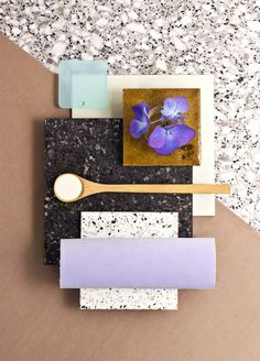 Weekly material mood 〰 Purple Summer & Sile Stone #satinglas #pastelblue #purple #silver #black #stone #acrylic #glaze #ceramic #velvet #kvadrattextiles #terrazzo #flower #nature #hortensia #colour #design #material #mood #moodboard #studiodavidthulstrup