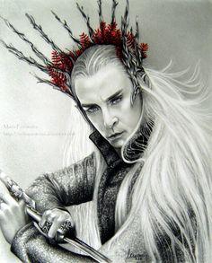 Thranduil by ochopanteras on DeviantArt Lee Pace Thranduil, Legolas And Thranduil, O Hobbit, Fire Dragon, Jrr Tolkien, Love Illustration, Pencil Portrait, Fantasy, Middle Earth