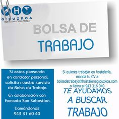 Asociación de Empresarios de Hostelería de Gipuzkoa cuenta con servicio de bolsa de trabajo, en colaboración con Donostiako Sustapena # Fomento de San Sebastián  Toda la info, pinchando sobre la imagen.