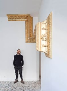 "Mathias Kiss and the ""Double I"" at the Palais de Tokyo Mathias Kiss, Gold Interior, Interior Design, Patrick Norguet, Perriand, Frame Wall Decor, Gold Art, Wall Sculptures, Ideas"