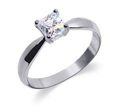 Sterling Silver Womens Band Princess Cut Cubic Zirconia Solitaire Ring Size 5 6 7 8 9 10