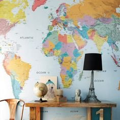 World Map Wallpaper - Wallpaper - Wallpaper & Tiles - Home Accents