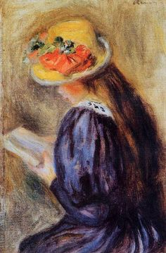 Renoir (French Impressionist Painter, 1841-1919) Girl in Blue Reading 1890