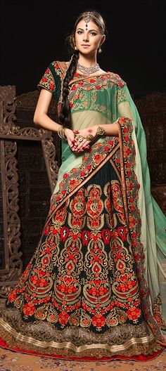 153200, Mehendi & Sangeet Lehenga, Velvet, Border, Thread, Lace, Bugle Beads, Appliques, Cut Dana, Stone, Patch, Zari, Green Color Family